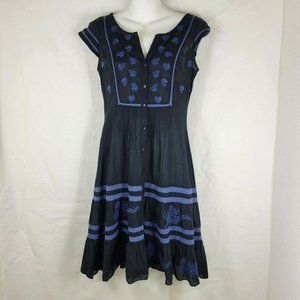 Free People Dress Button Down Embroidered Boho